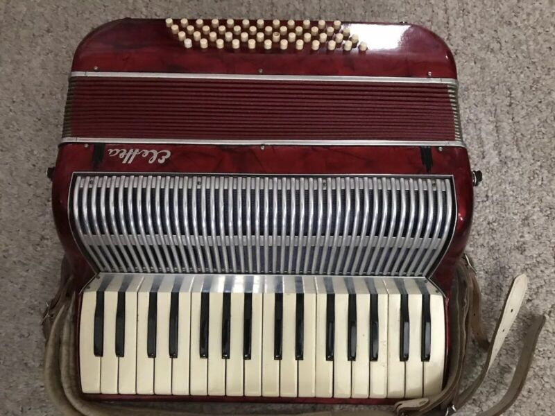 Vintage Elettea Red Piano Accordion Made In Italy With Carrying Case Used