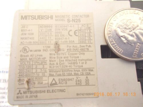 Mitsubishi S-N25 Contactor