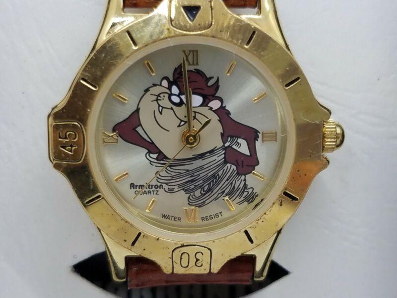 Armitron Warner Bros 1997 Quartz Tasmanian Devil Taz Gold Leather Band Watch