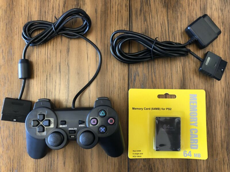 PlayStation2 Dual-Shock PS2 Wired Replacement Controller + Extension + 64MB MC!!