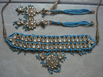 BN LADIES/GIRL'S GOLD/BLUE GORGEOUS NECKLACE & EARRINGS SET