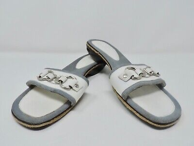 COLE HAAN NikeAir White Patent Leather Chain Denim Slip On Sandals Size 9.5B Denim Patent Leather Sandals