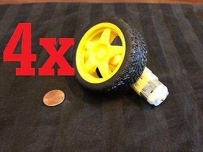 4x Smart Car Robot Tire Wheel With Dc Gear Motor Yellow 6v 4pcs B11