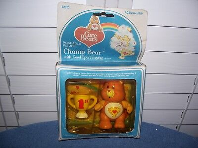Vintage 1984 Champ Bear Care Bears w/ Trophy Poseable Figures in Box 3 1/4""