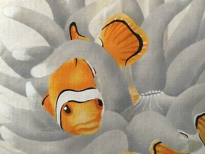 Hand-Painted Pillow Clownfish in Anemone Vibrant Original Painting Nemo Marlin - Clownfish Anemone