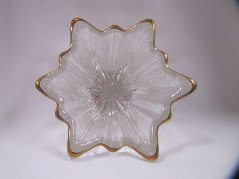 Antique Glass Star Candle Holder Antique Gold Rim Cut Glass Design