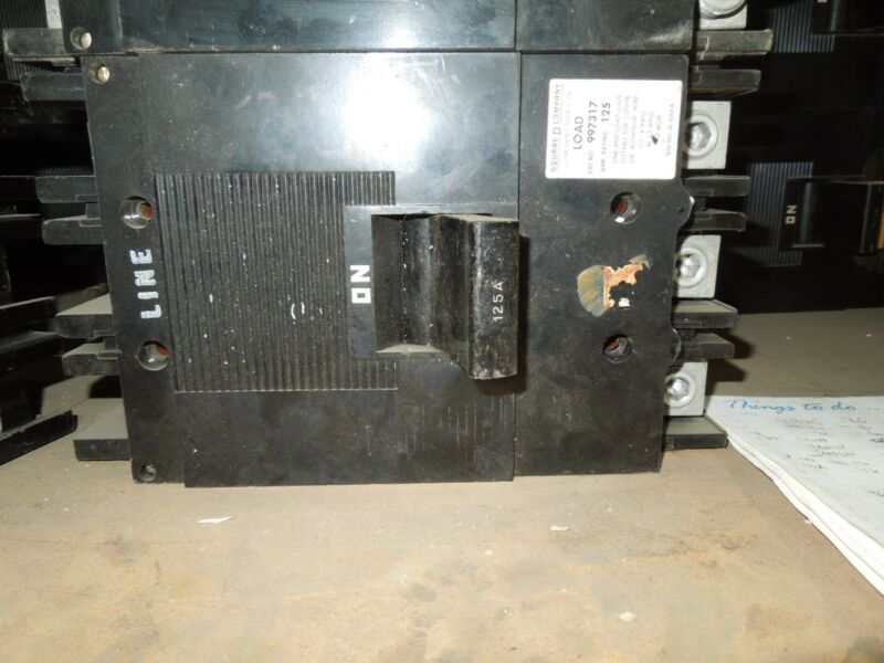 Square D Type Ml-3 997317 125a 3p 600vac Circuit Breaker Used