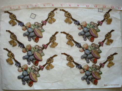 antique 19th c french silk + gold thread hand embroidered silk appliques