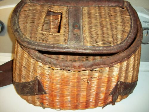 Antique Fishing Creel Wicker Leather Straps Vintage Equipment Old