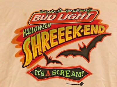"VINTAGE BUD LIGHT BEER SHIRT, HALLOWEEN SHREEK-END ""IT'S A SCREAM"" MEN'S XL"