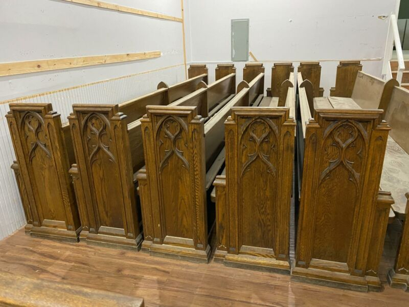 BEAUTIFUL GOTHIC OAK CARVED CHURCH PEWS FROM A CLOSED CHURCH - CC1