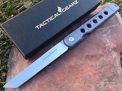 Full Tc4 Titanium Japanese Front Flipper Knife! Polished D2 Steel, Tanto Blade!