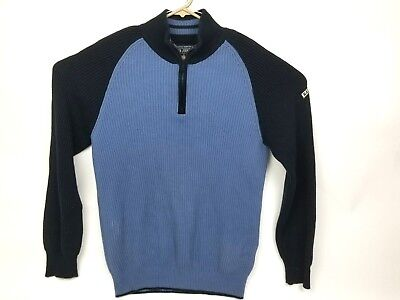 VTG Nautica Jeans 1999 mens blue 1/2 zip sweater L Large ski warm