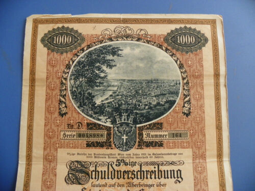 Vienna, Austria. City Loan Bond from 1921. ORNATE. 1000 Kronen. from 1921.!!!