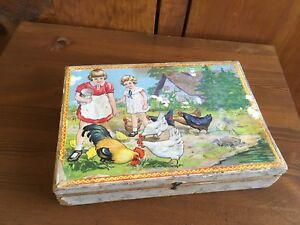 Antique Wooden Block Puzzle with Box Six Scenes.