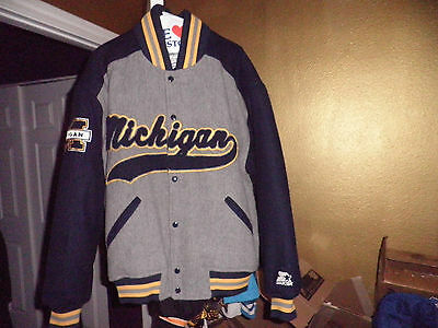 Vintage Michigan Wolverines Wool Varsity Throwback Starter Jacket XL New! NWOT