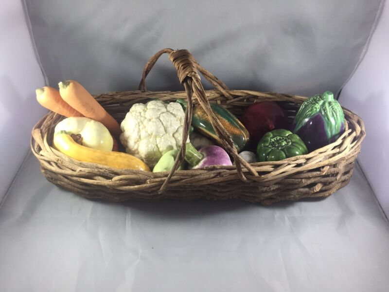 Basket full of Ceramic Vegetables