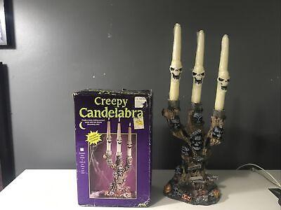 Vintage Fun World Creepy Candelabra Skull Tree Wax Candle Spooky