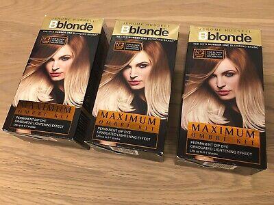 3x Jerome Russell Bblonde  no2 blonde to medium brown Hair Permanent Dip Dye