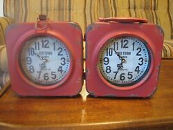 Old Town Clock 67 BAILEY ST Steam Punk 2 Sided Urban Rustic Red Distressed Paint