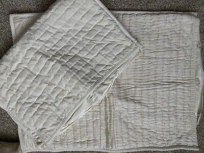 (2) Pottery Barn Silk/Velvet Channel Standard Shams- Ivory Beautiful