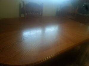 solid wood table an 6 chairs