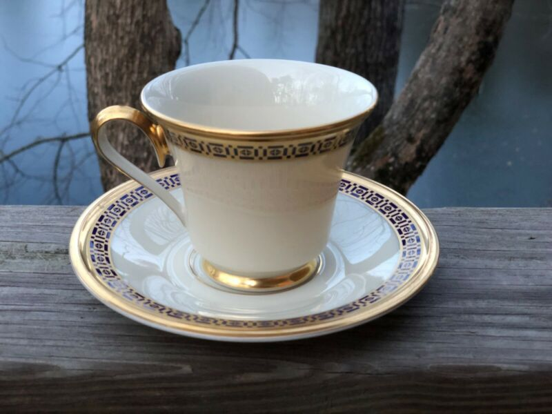 Lenox Tudor cup and saucer set - geometric design in blue and gold - USA made