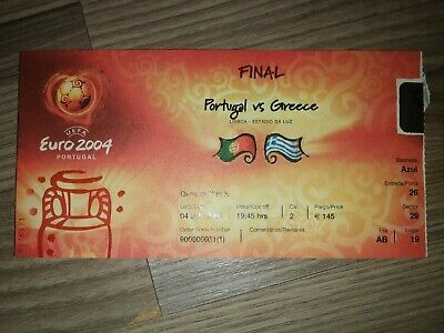 Ticket Euro 2004 Final avec drapeau : Portugal   -   Greece 04.07.2004