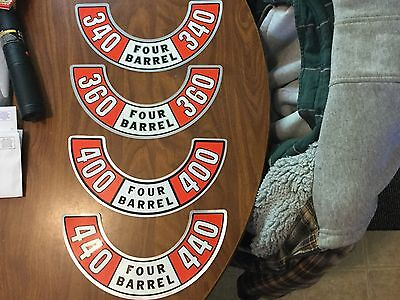 MOPAR,DODGE,PLYMOUTH, N.O.S. 340,360,400,440, AIR CLEANER LID DECAL ONLY GET ONE