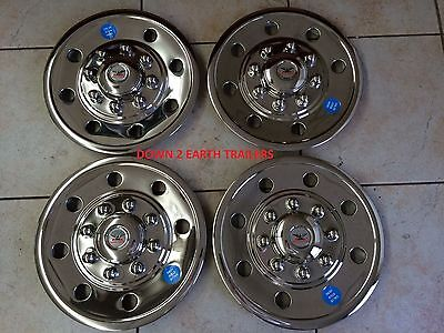 """(GQST60)(4) Phoenix USA 16"""" Stainless Trailer Wheel Hub Caps Rim Covers SHARP!!"""