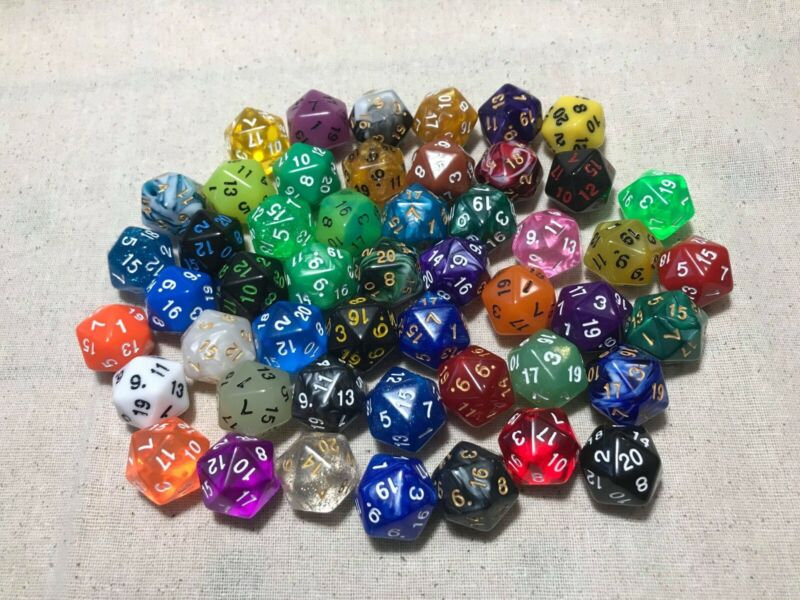 50pc Lot of Acrylic D20 20 Sided Dice