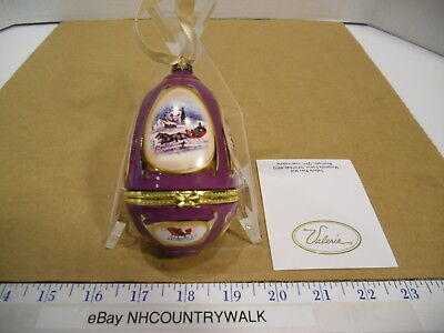 Valerie Parr Hill Musical Handcrafted Ceramic Purple Sleigh Egg Ornament - EUC