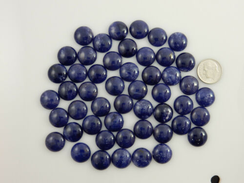 260 Carats Natural Sodalite Gemstones 14mm Round Cabochons Cabs Parcel