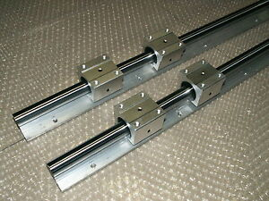 2x 16mm linear slide shaft guide SBR16-500mm rails+4 SBR16UU bearing blocks CNC