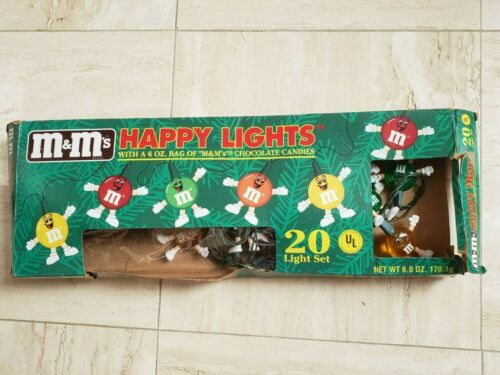 M&M.Lights Candy Character Happy 19 String Set Christmas Holiday Party Vintage