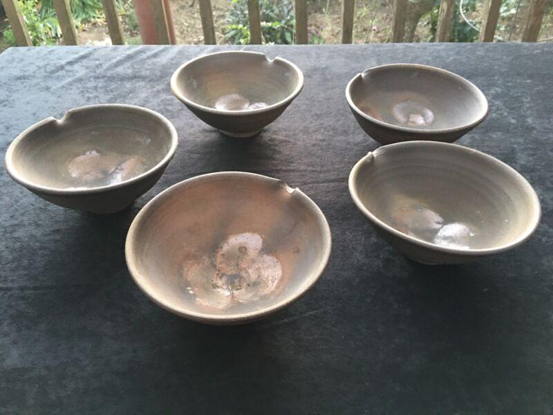 5 BOWLS Japanese Pottery GLAZE SHIGARAKI BIZEN Flower vase Ceramic ARTIST MAKER