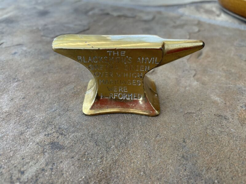 Vintage Mini Brass Anvil Paperweight