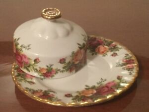 Country Roses bone china butter dish