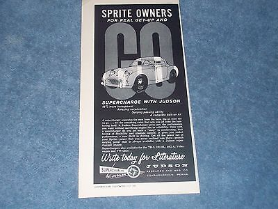 1960 Judson Superchargers Vintage Ad for Austin Healey Bugeye Sprite