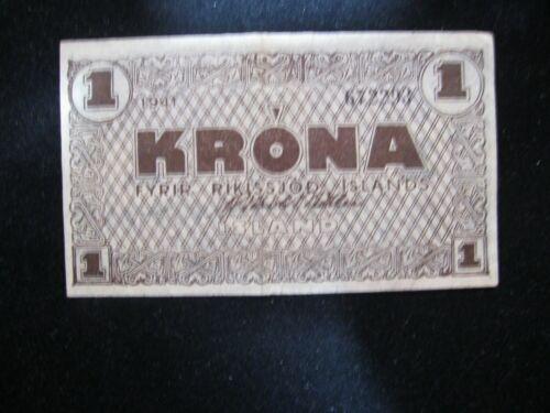 ICELAND 1941 KRONA SCARCE! NICE VF/XF BANKNOTE