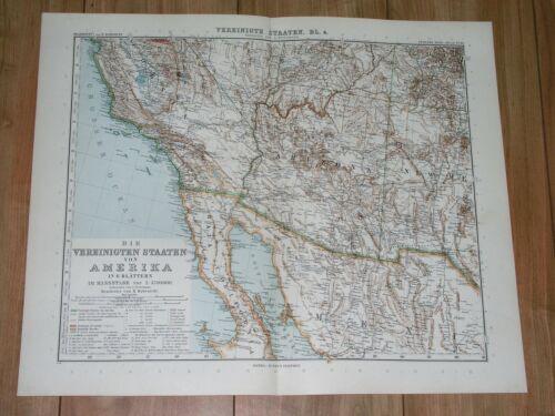 1912 ANTIQUE MAP OF SW USA MEXICO BORDER CALIFORNIA ARIZONA NEW MEXICO SONORA