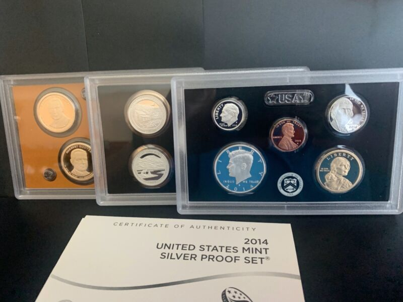 2014-S US MINT SILVER PROOF SET WITH BOX & COA (14 COINS)