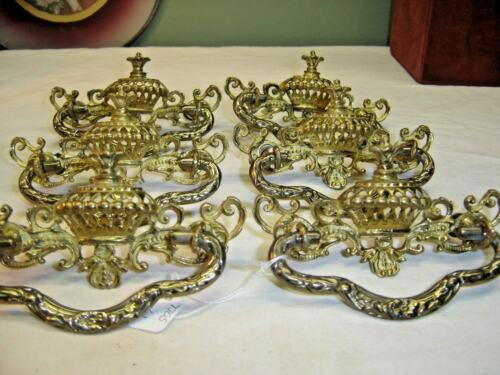Matching Set of 6 Antique Cast Brass Drawer Pulls 9105
