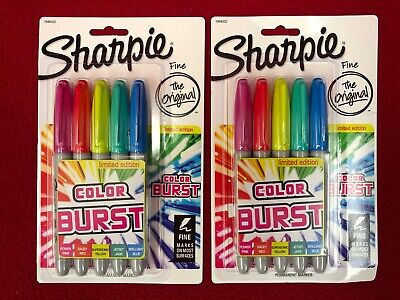 Brand New Lot Of 2 Sharpie Color Burst Permanent Marker Fine Point 5 Packs