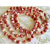 6mm Vintage Glass Beads, Beaded Necklace, Red Swirl Peppermint Candy NWT #1304