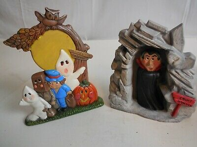 E4 Halloween Vtg 1970s Ceramic Ghost w/Pumpkin Light Up Trick or Treat & Dracula