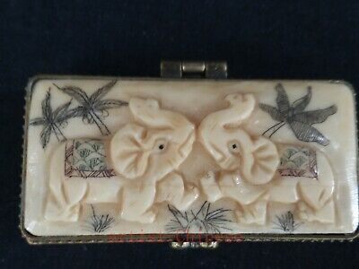 Collected Old China Hand Carving Vivid Elephant Jewel Box Snuffbox Decoration