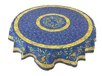 "Provencal 100% Cotton Tablecloth Cicada Despondent Round 71"" Made in France"