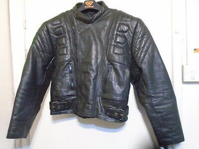 VINTAGE 80'S RANA DISTRESSED HEAVY LEATHER MOTORCYCLE JACKET SIZE 44