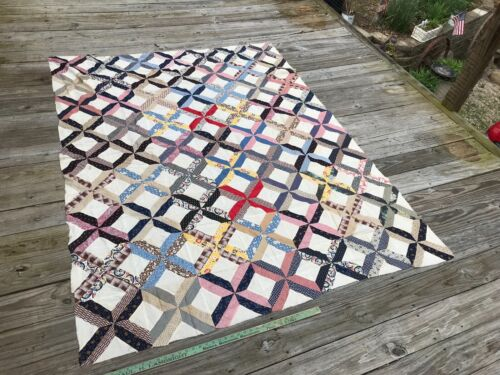 UNUSUAL Antique Feedsack Material Quilt TOP Red Blue and white